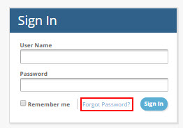 screenshot of login screen with forgot password highlighted