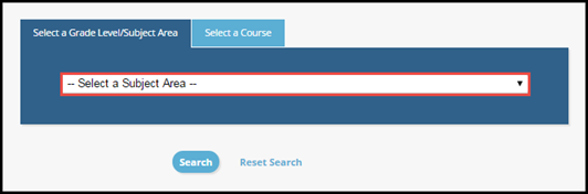 Select Grade Level and Subject Area selection screen with dropdown box highlighted