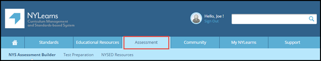 NYLearns top banner with Assessment tab highlighted