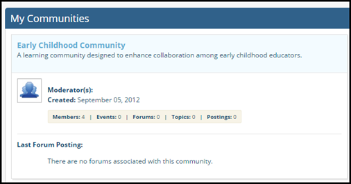 My Communities screen with sample community displayed