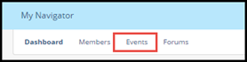 Community navigation bar with Events tab highlighted