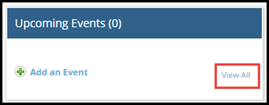 Upcoming Events dialog with View All button highlighted
