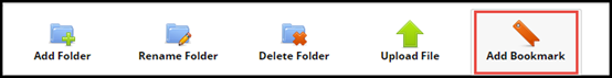 e Portfolio toolbar with Add Bookmark button highlighted
