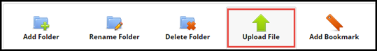 e Portfolio toolbar with Upload File button highlighted