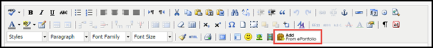 Edit Toolbar with Add from ePortfolio button highlighted