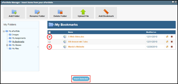 ePortfolio Manager screen with check boxes and insert selected button highlighted