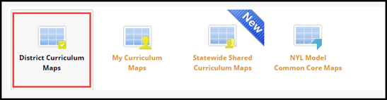 Navigation menu icons with District Curriculum Maps button highlighted
