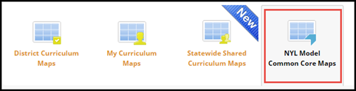 Navigation menu icons with New York Learns Model Common Core Maps icon highlighted