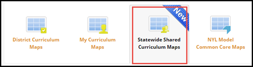 Navigation menu icons with Statewide Shared Curriculum Maps icon highlighted
