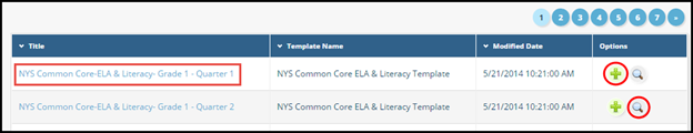 Screen of sample common core maps with title add button and magnifying glass button highlighted