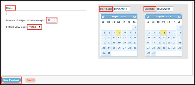 Planbook creation editor with Name Start Date End Date Subjects Taught Drop down box Default View Mode drop down box and save planbook button highlighted